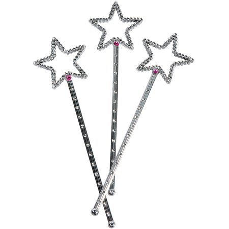 Dozen Fairy Princess Queen Silver Magic Star Wand Scepter Costume Accessory