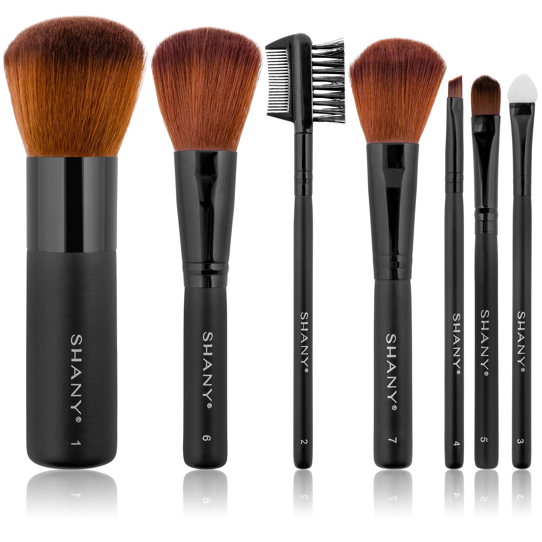 SHANY Studio Quality Auburn Synthetic Bristles Cosmetic Brush Set with Large Kabuki, 7 pc