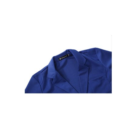 Mens Simple Two Pockets Front Two Buttons Long Sleeve Blazer Royal Blue S - image 4 of 7