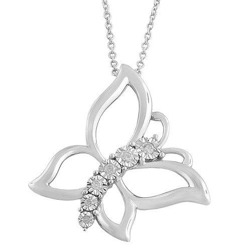 Fremada Jewelry Rhodium Plated Silver Diamond Butterfly Necklace