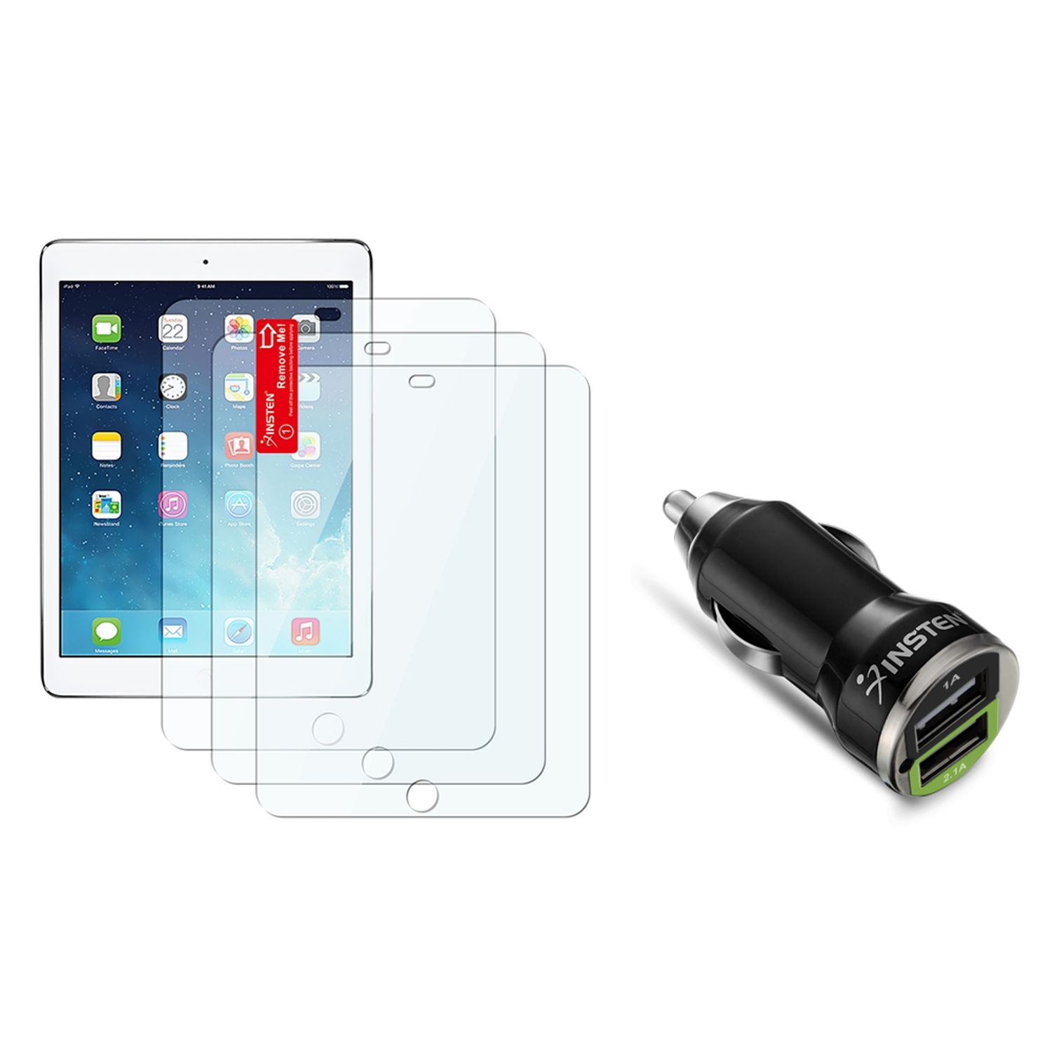 Insten 3 pcs Set Clear Screen Protector Film For Apple iPad Air 1 1st 2 2nd (with 2-Port USB Car Charger Adapter)