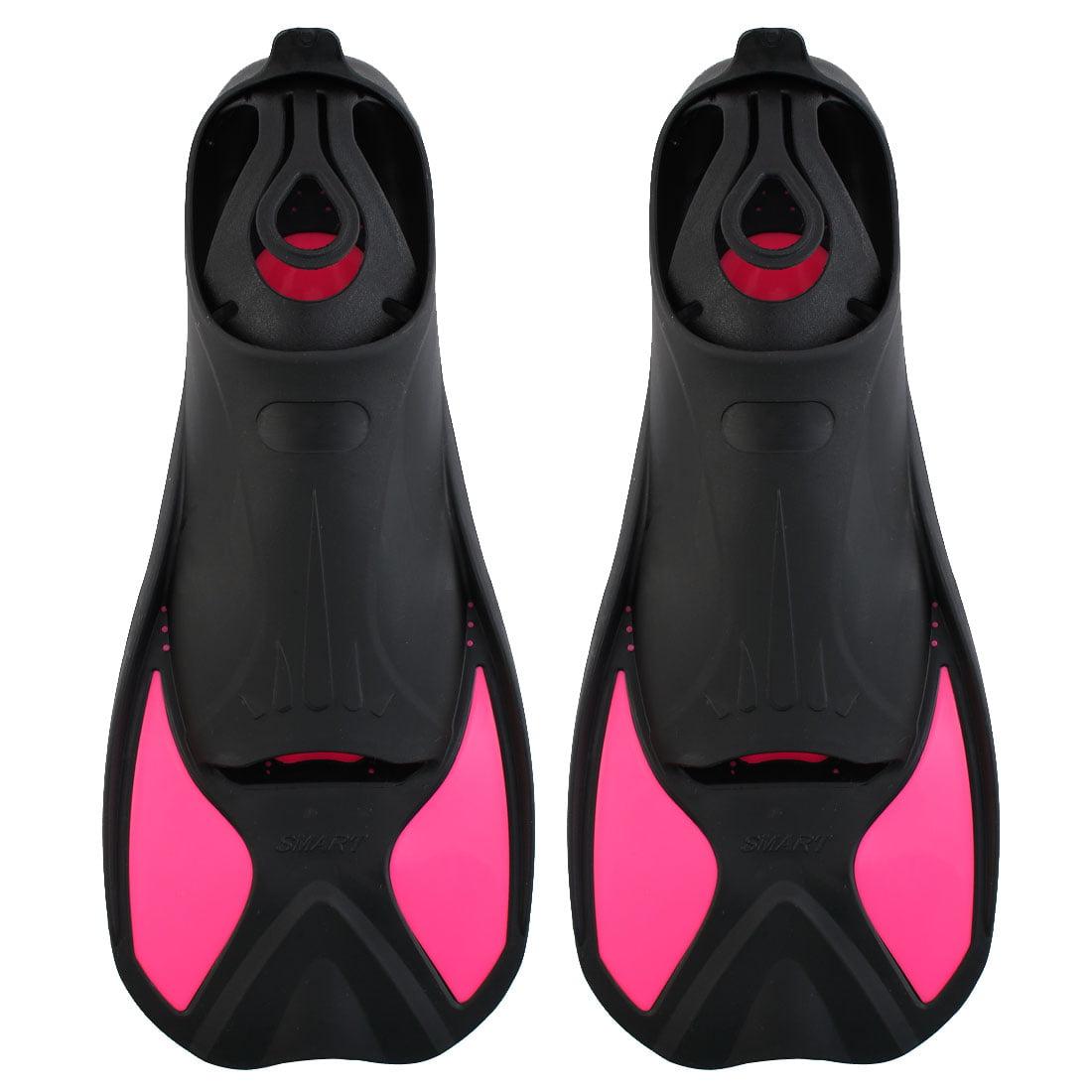 Swim Diving Training Snorkel Floating Short Fins Flippers Fuchsia Size S Pair