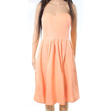 J.Crew NEW Orange Womens Size 14 Strapless Fit Flare Sheath Dress
