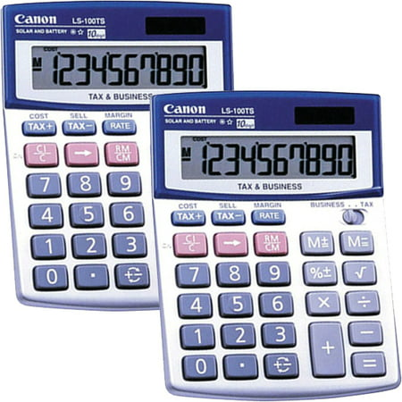 (2 Pack) Canon, CNMLS100TS, LS100TS Desktop Calculator, 1 (Silver Coin Calculator)