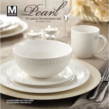 Safdie & Co. 16-Piece Round Rim Dinnerware Set, White, Embossed Pearl