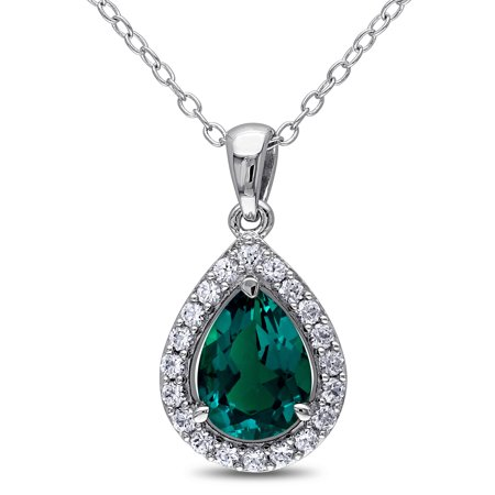 1-1/2 Carat T.G.W. Created Emerald and Created White Sapphire Sterling Silver Teardrop Halo Pendant, 18 Created Emerald Pendant Necklace