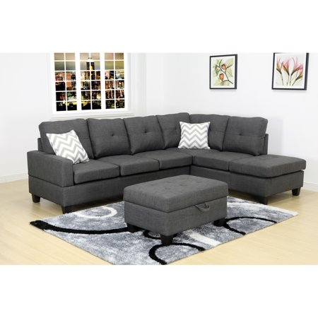 - Evelyn Right Facing Sectional Set with Storage Ottoman, Grey
