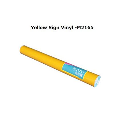 "Techtongda 1 Roll Yellow 24""x10yards Plato Sign Vinyl Decals Film Sticker Advertising Cutting Plotter for Window Car Body(#004214)"