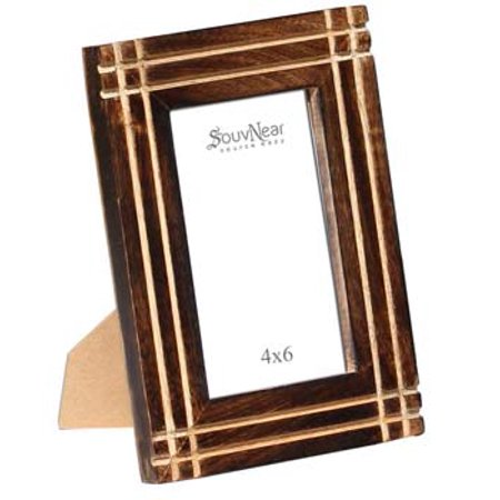 Picture / Photo Frames 4x6 - Mango Wood Picture Frame with Stand Double Use for Horizontal Vertical Pictures - Antique Look Distressed Finish for Living Room Table Top from SouvNear - Table Top Flame Light