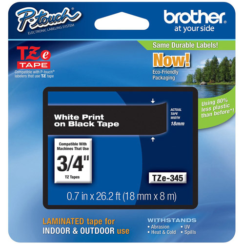 Brother TZE345 18mm Laminated Tape, White on Black