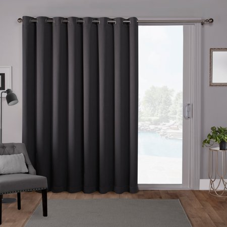 Exclusive Home Curtains 1 Pack Sateen Blackout Wide Patio Grommet Top Single Curtain Panel ()