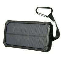 ThorFire Waterproof 100,000mAh Solar Power Bank Dual USB Port LED Flashlight + Carabiner + USB Cable Portable