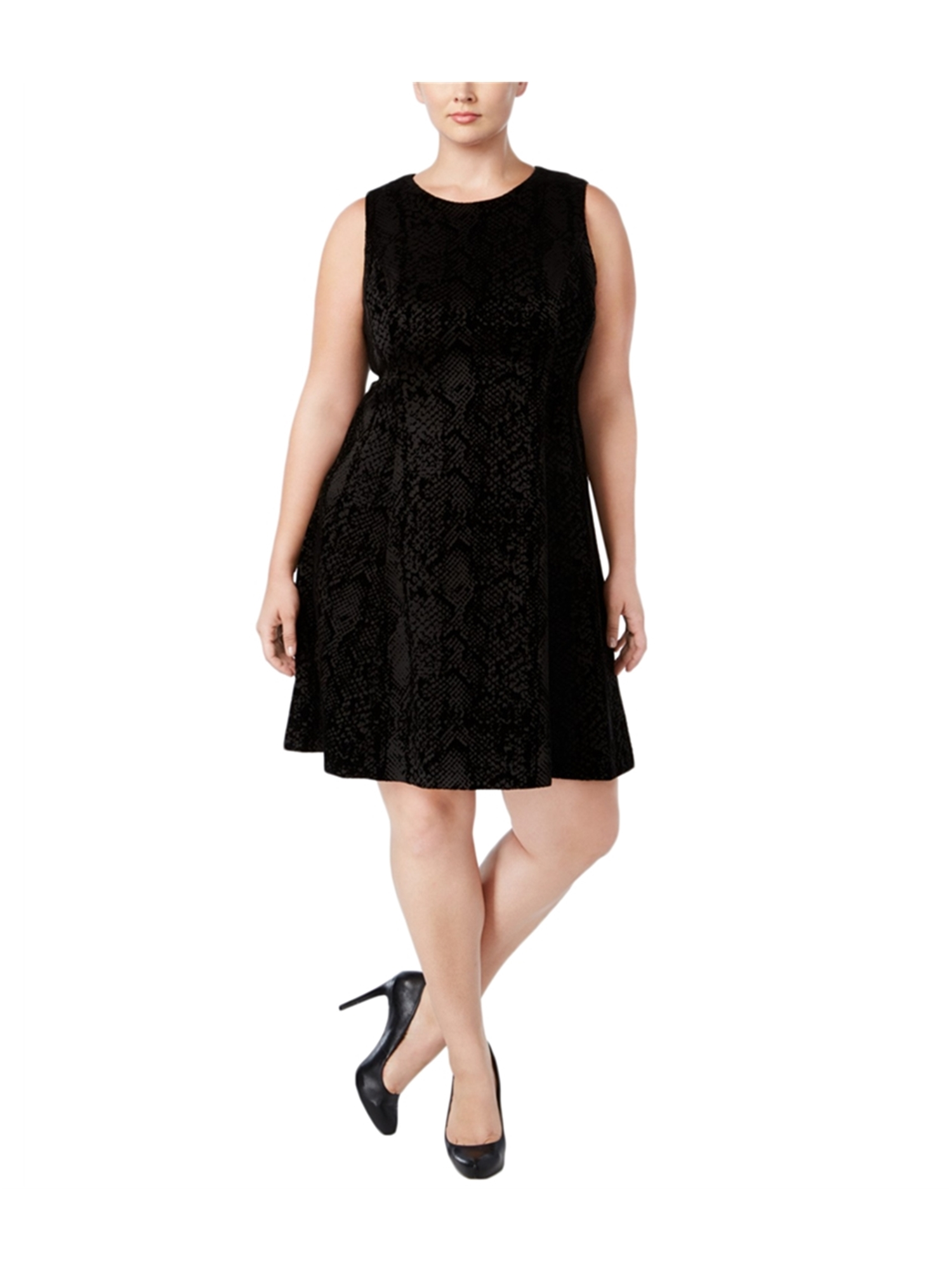 143c4811485 Calvin Klein Womens Flocked Scuba-Knit A-line Fit   Flare Dress blk ...