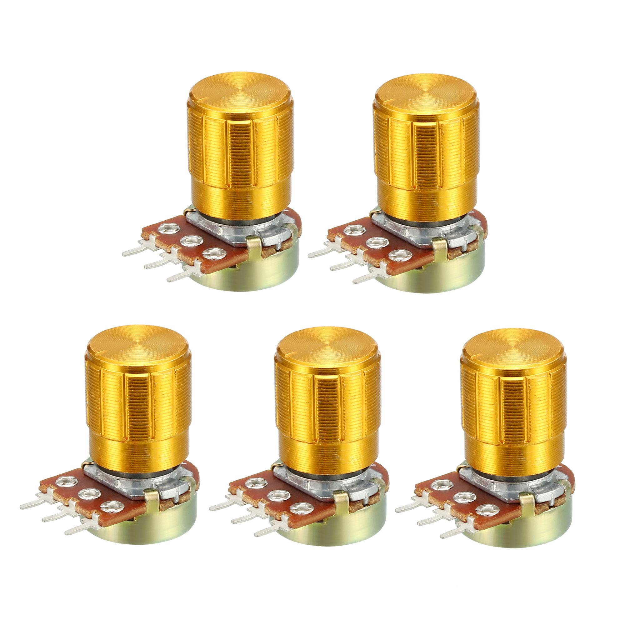 WH148 1K Ohm Variable Resistors Single Turn Rotary Carbon Film Taper Potentiometer W Knobs 5pcs