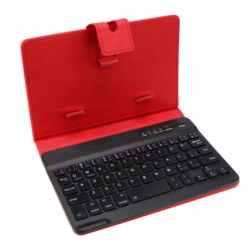 DZT1968® Leather With Detachable Bluetooth Keyboard For 5-10Inch IOS, Android Phone