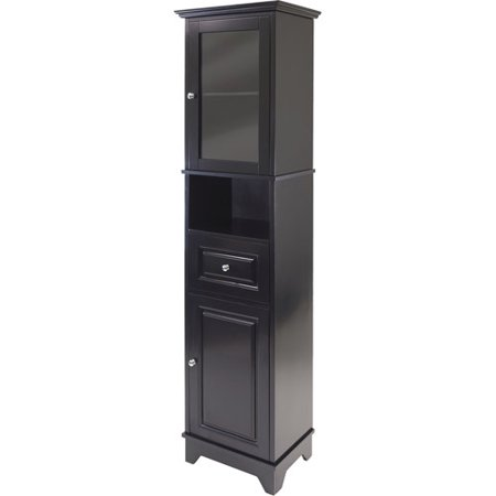 Winsome Wood Alps Tall Cabinet with Glass Door, Black Finish