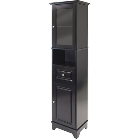 Winsome Wood Alps Tall Cabinet With Glass Door Black Finish