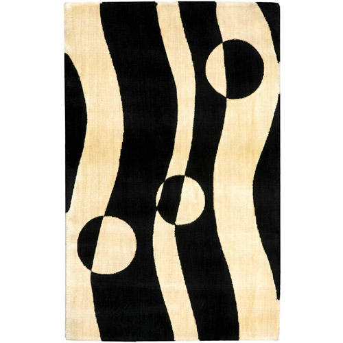 Nourison Parallels Collection Rug, Black/White