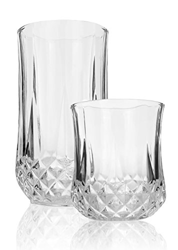 Palais Glassware 'Marseille' Collection, Elegant Diamond Cut Clear Glass set of 12 by Palais Glassware