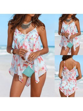 7f80a99a3e3 Product Image Tuscom Womens 3PCS Tankini Sets Bikini Bottom Plus Size Mesh  Layered Swimwear Swimsuits