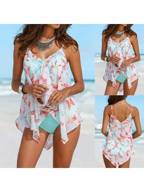 4a1076fc4c Product Image Tuscom Womens 3PCS Tankini Sets Bikini Bottom Plus Size Mesh  Layered Swimwear Swimsuits