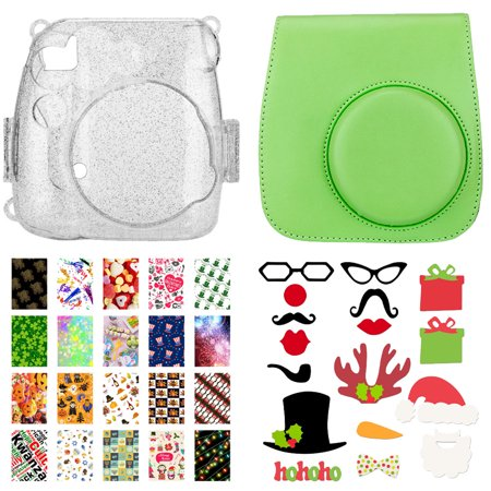 Hot Deal! Glitter Case for Fuji Mini 9 + Lime Green Camera Bag + 20 Sticker Frames for Fuji Instax Prints – Holiday + Photo Booth Props 17 in 1 – Holiday Packages (Camera Case Light)