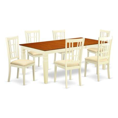 East West Furniture Logan 7 Piece Windowpane Dining Table Set ...