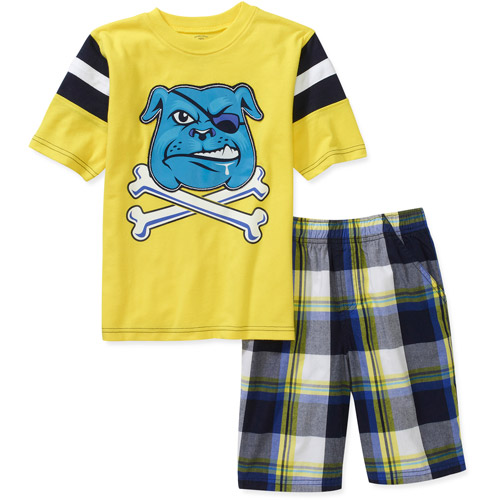 Faded Glory Little Boys 2 Piece Graphic Tee and Plaid Short Set