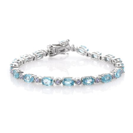 "Blue Zircon Tanzanite Tennis Bracelet925 Sterling Silver Platinum Plated Gift Jewelry for Women Size 6.5"" Cttw 11.6"