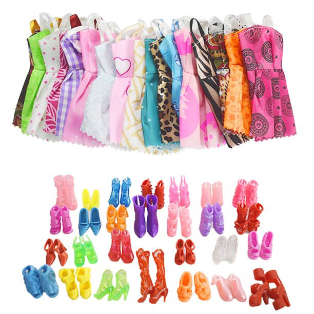 20 Pcs Doll Dress+20Pcs Shoes Clothes for Barbie Doll