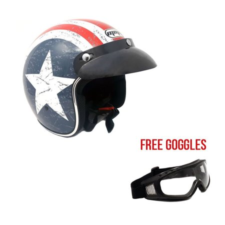Motorcycle Cruiser 3/4 Shell Open Face Helmet Snap-On Visor – Stars and Stripes American Patriot (Small) + Free Goggles