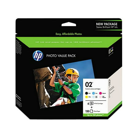 HP 02 Black/Cyan/Magenta/Yellow/Light Cyan/Light Magenta Original Ink Cartridges w/Photo Paper, 6 pack (Q7964AN)