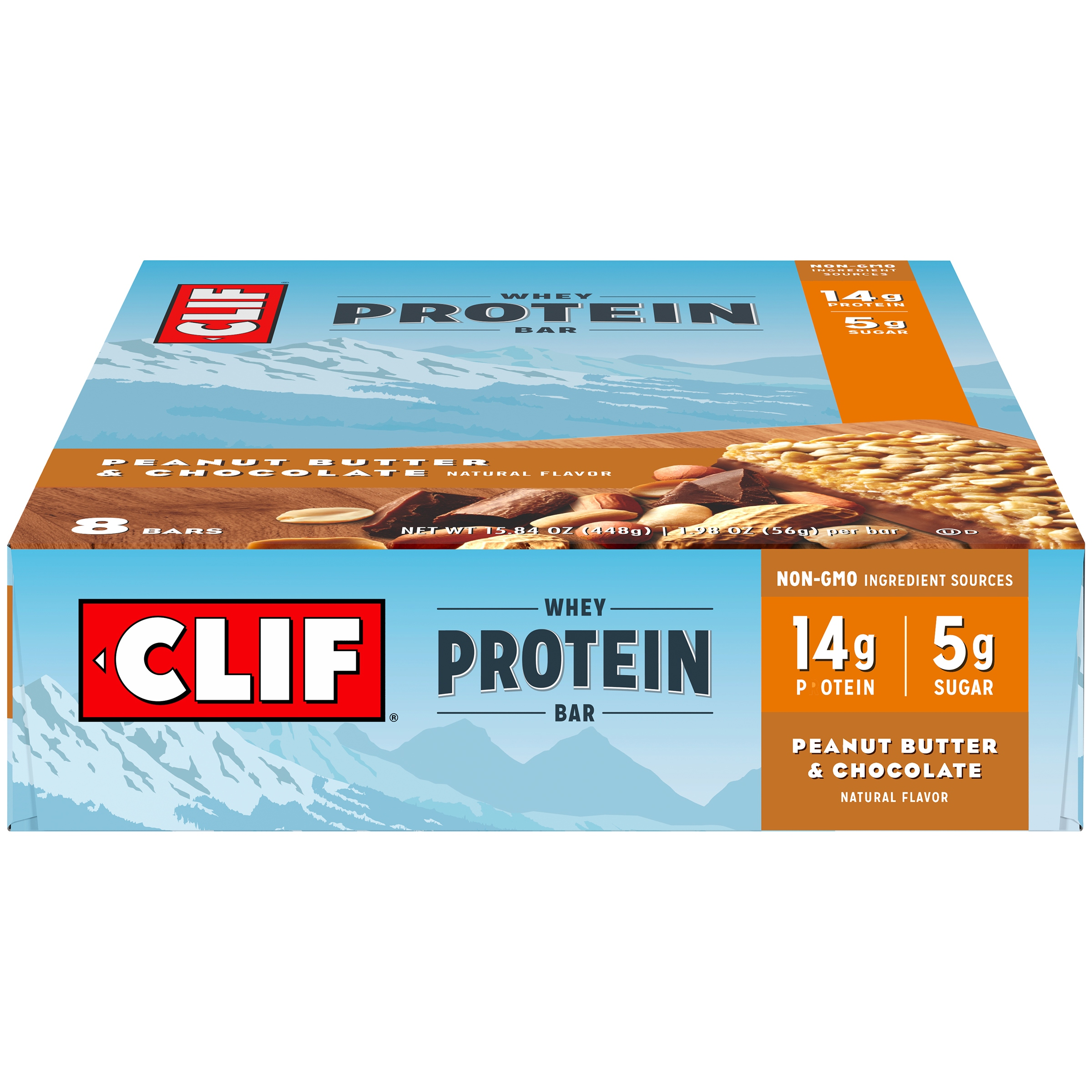 CLIF® Whey Protein Peanut Butter & Chocolate Bar 8 ct Box