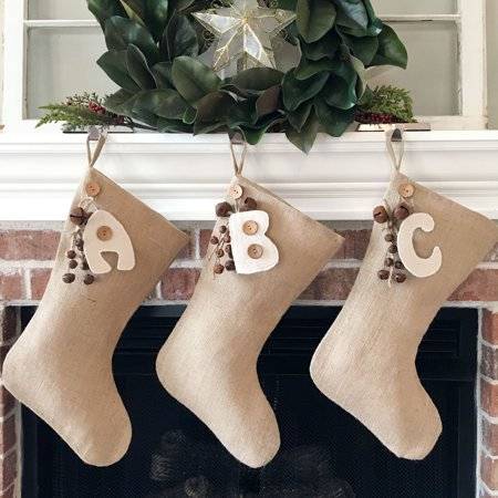 Christmas Village Stocking (Burlap Christmas Stocking With Personalized Letter Charm by Jubilee Creative Studio )