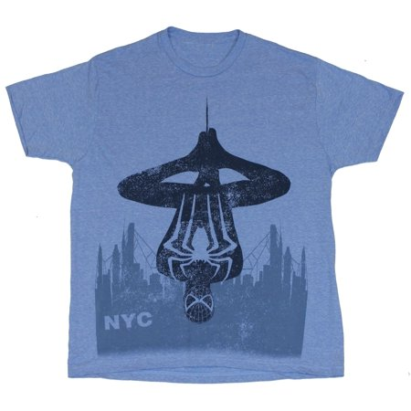 Spider-Man (Marvel Comics) Mens T-Shirt - Stylized NYC Upside Down Blue - Spiderman Hanging Upside Down