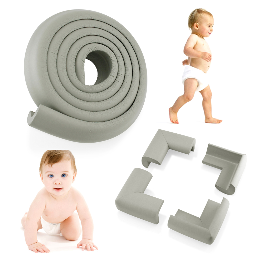 4Pcs Child Baby Kids Safety Corner Edge Protectors + Table Soft Cover Protector Cushion Guard - Gray