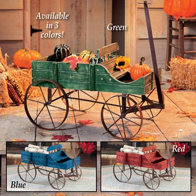 Wood Wagon Decorative Wheel Planter Garden Flower Plant Pot Outdoor Decor