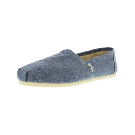 Girls Toms On Sale (Toms Women's Classic Slub Chambray Blue Ankle-High Canvas Flat Shoe -)