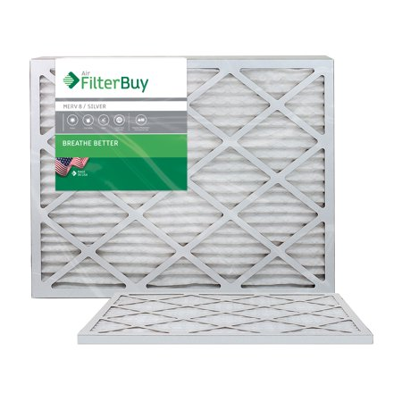 AFB Silver MERV 8 20x25x1 Pleated AC Furnace Air Filter. Pack of 2 Filters. 100% produced in the