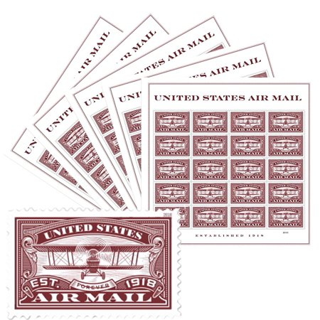 Red United States Airmail 5 Sheets of 20 Forever USPS First Class one Ounce Postage Stamps (100 Stamps) Wedding