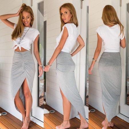 Women WRAP Banded Draped Cut Out Hi Low Asymmetrical High Waist Open Maxi Skirt