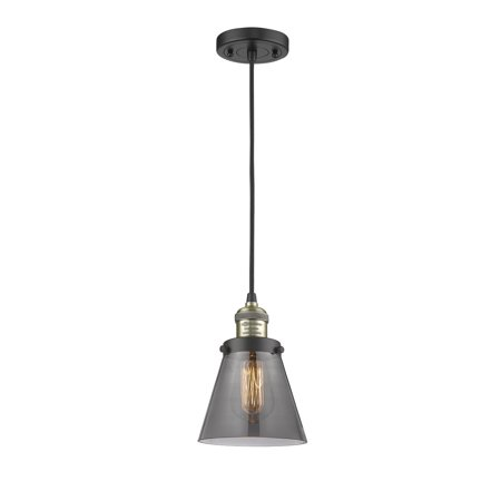 Small Cone Black Antique Brass Six-Inch LED Mini Pendant with Smoked Cone Glass and Black Cord Cone Glass Pendant