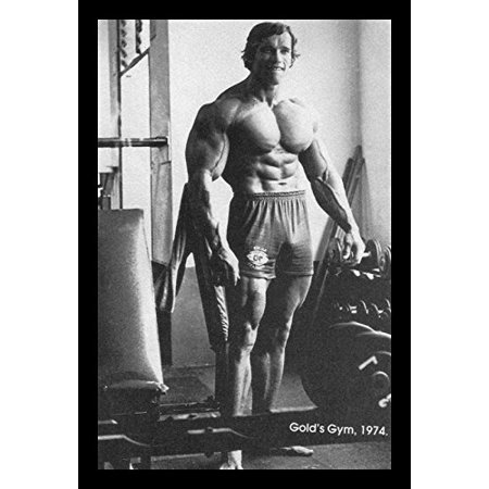 Buyartforless If Pga1001 18X12 1 25 Black Arnold Schwarzenegger Training   Golds Gym 1974 Photograph 18X12 Sports Art Print Poster Weight Lifting Body Building