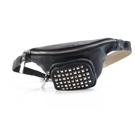 Double Zip Hand Pouch (Steve Madden NEW Black Studded Small Zip Pouch Belt Handbag Purse)