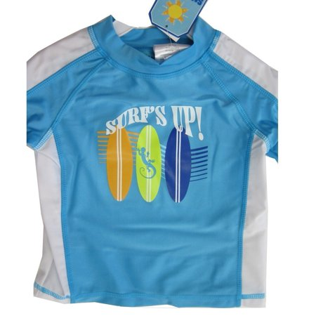Sun Kids Tm. Little Boys Blue Surf's Up Print Swim Wear T-Shirt 2T-4T–Walmart-Cash Back