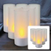 """Pack of 6 Frosted Votive Cups with Flameless Tea Light Candles 4"""""""