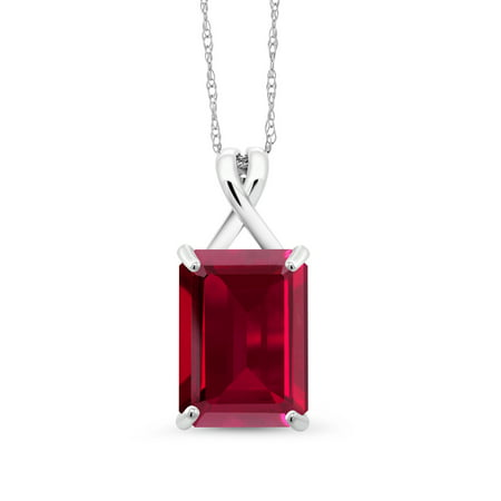 - 8.00 Ct Emerald Cut Red Created Ruby 10K White Gold Pendant With Chain
