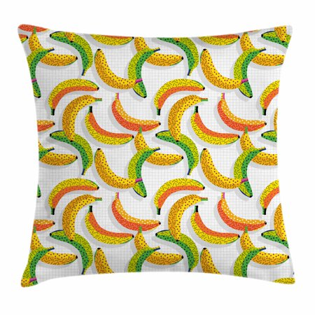 Fruits Throw Pillow Cushion Cover, Retro Pop Art Trippy Banana Fractal Minimalist 80s Geometric Abstract, Decorative Square Accent Pillow Case, 18 X 18 Inches, Earth Yellow Pearl Green, by Ambesonne