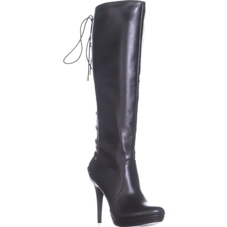 Black Knee High Lace Up Boots (Womens TS35 Lanee Wide Calf Lace Up Knee High Boots,)
