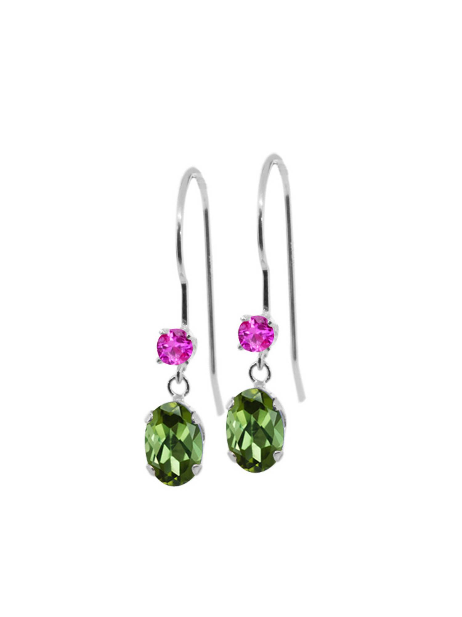 0.96 Ct Oval Green Tourmaline Pink Sapphire 14K White Gold Earrings by
